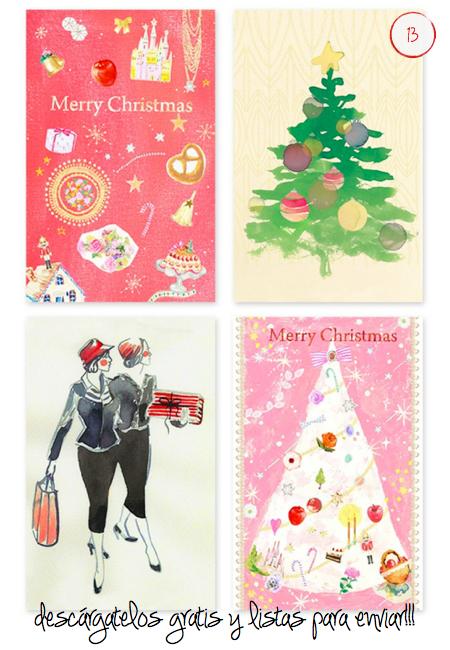 Imprimibles tarjetas navidad